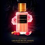 Le parfum rose Damascena sur un visuel devant roses, framboises
