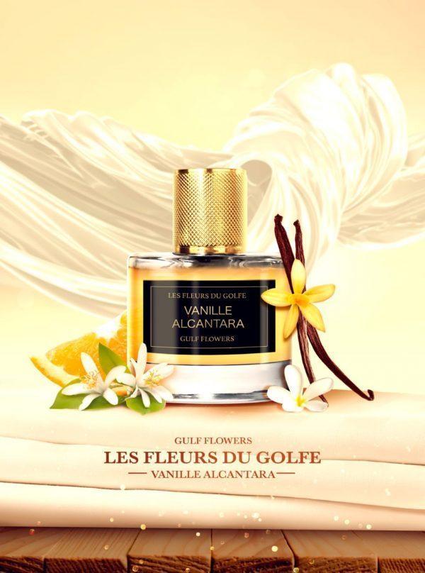 Le parfum Vanille Alcantara avec une gousse de vanille, agrumes et fleurs