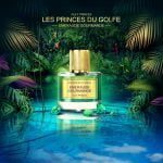 Perfume Emeraude Gourmande from brand Les Fleurs du Golfe, in exeptional bottle. precious stones, on water, in wild nature