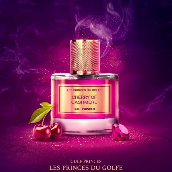 Perfume Cherry of Cashmerein a Exceptional Botlle from brand Les Fleurs du Golfe. on purple background with cherry and precious stones.