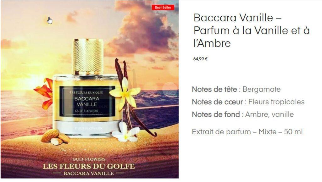 notes du parfum Baccara Vanille