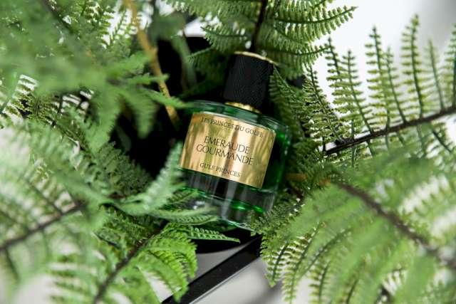 Une photo illustrative d'un flacon de parfum mis dans un peau d'une plante. Le parfum est entouré des feuilles vertes de cette plante.
