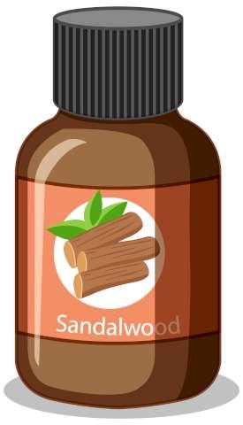Une image qui illustre une petite bouteille d'huile essentielle de santal.