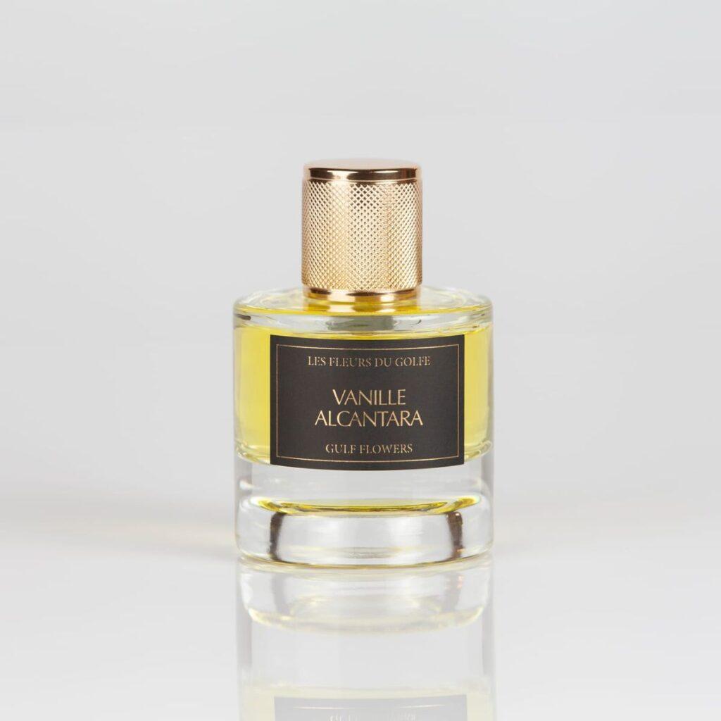 Une photo du parfum Vanille Alcantara de la marques les fleurs du golfe.