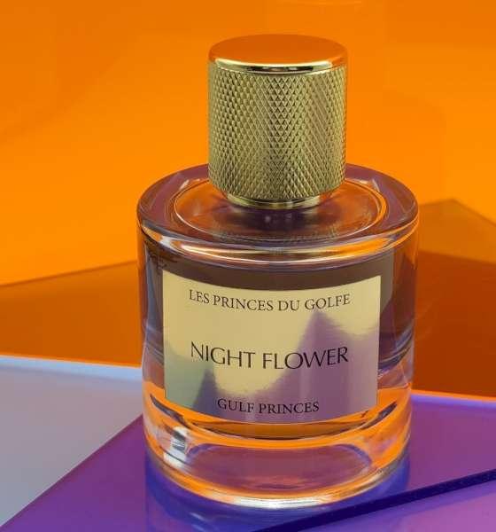 Une photo illustrative du flacon de parfum Night Flower de la marque les fleurs du golfe.